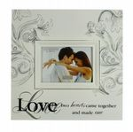 Large Love Wall Plaque Photo Frame Wedding, Valentine, Anniversary and Engagement Gift White Wooden Frame